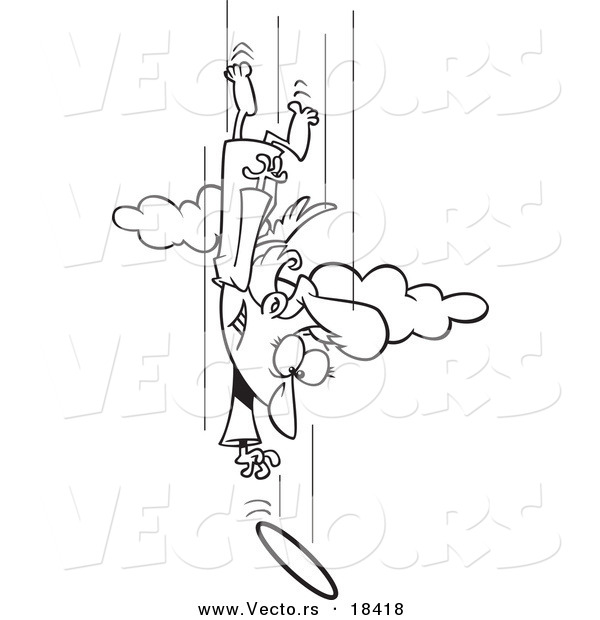 Vector of a Cartoon Female Angel Chasing Her Halo - Outlined Coloring Page