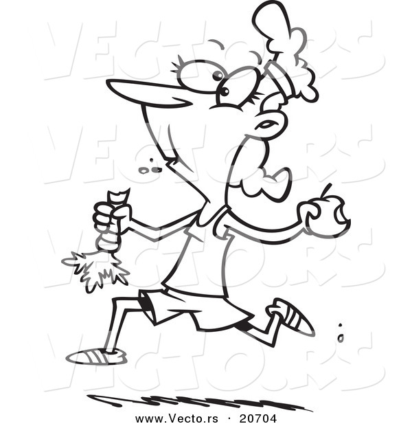 Vector of a Cartoon Female Jogger Eating Her Fruits and Veggies - Coloring Page Outline