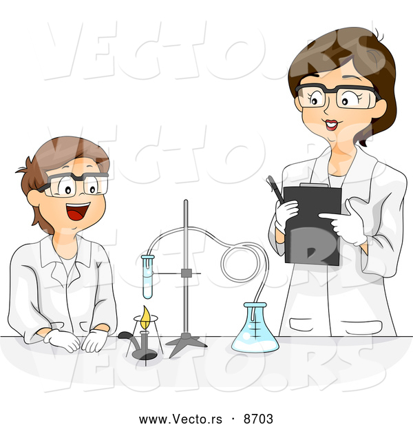 Vector of a Cartoon Female Science Teacher Working with a Happy Male Student on a Chemistry Project