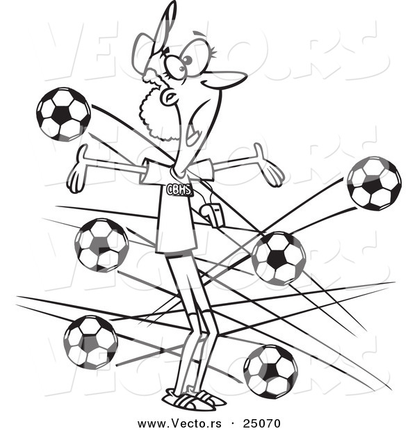 Vector of a Cartoon Female Soccer Coach with Balls Flying at Her - Outlined Coloring Page