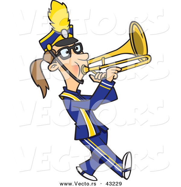Vector of a Cartoon Female Trombone Player Marching