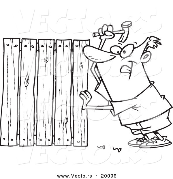 Vector of a Cartoon Fencer Nailing Boards - Outlined Coloring Page