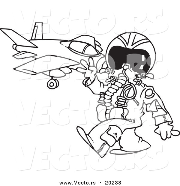 Vector of a Cartoon Fighter Pilot near His Jet - Outlined Coloring Page