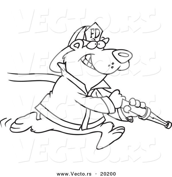 Vector of a Cartoon Fire Fighter Bear Carrying a Hose - Outlined Coloring Page