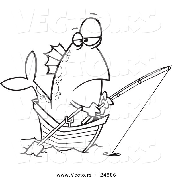 : Vector of a Cartoon Fish Fishing from a Boat - Outlined Coloring Page