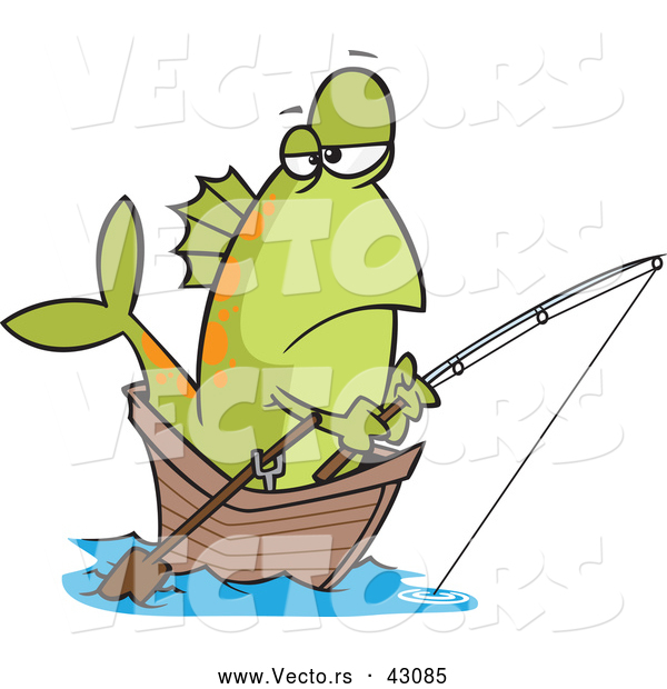 Vector of a Cartoon Fish Fishing in a Wooden Boat