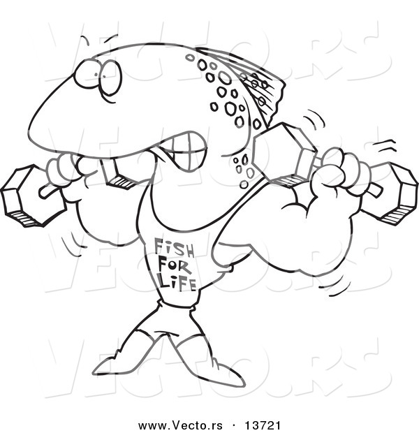 Vector of a Cartoon Fish Lifting Weights and Wearing a Fish for Life Shirt - Coloring Page Outline
