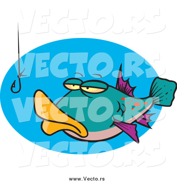 Vector of a Cartoon Fish Staring at a Hook