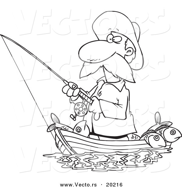 Vector of a Cartoon Fisherman Standing in His Boat - Outlined Coloring Page