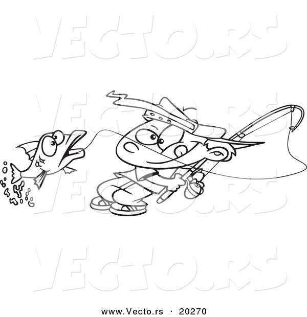 Vector of a Cartoon Fishing Boy Reeling in a Fish - Outlined Coloring Page