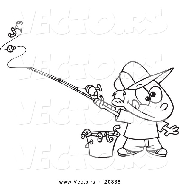 Vector of a Cartoon Fishing Boy with a Bucket of Worms - Coloring Page Outline