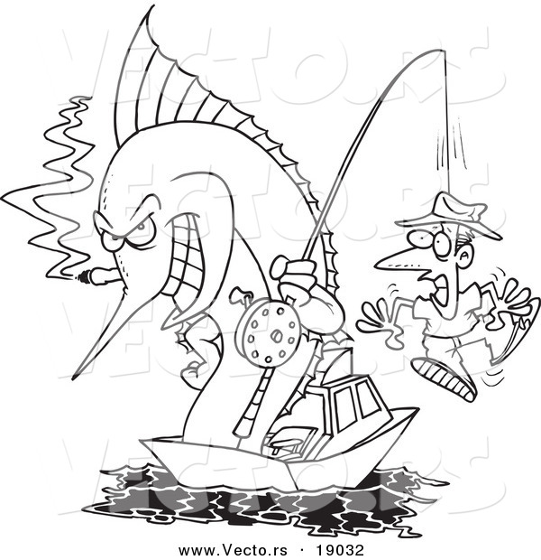 : Vector of a Cartoon Fishing Marlin with a Man on a Hook - Outlined Coloring Page