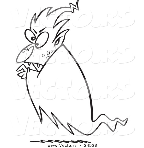 Vector of a Cartoon Floating Vampire - Outlined Coloring Page
