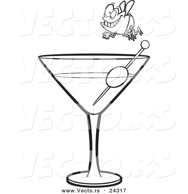 Vector of a Cartoon Fly Diver over a Martini Black and White Outline - Outlined Coloring Page