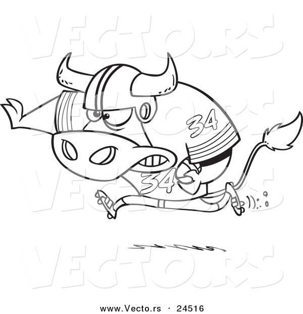 Vector of a Cartoon Football Bull Running - Outlined Coloring Page