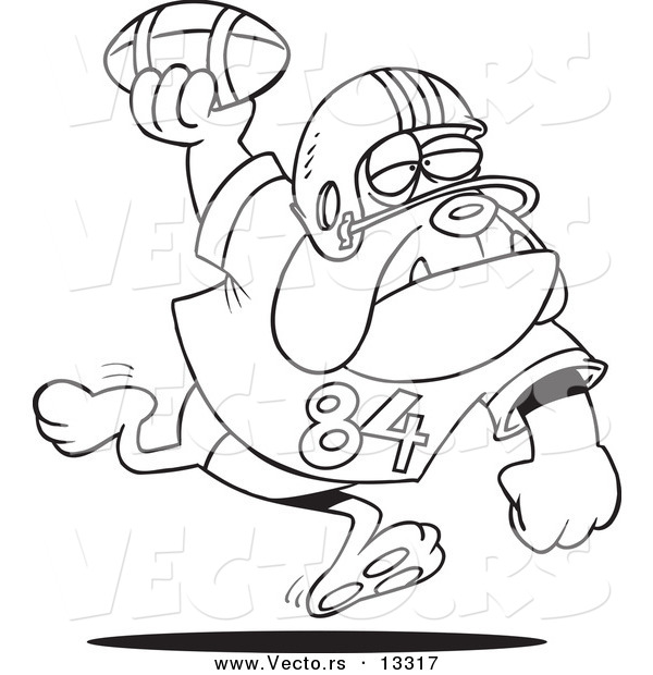 Vector of a Cartoon Football Bulldog Throwing the Ball - Coloring Page Outline