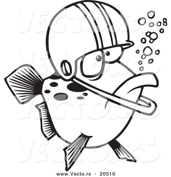 Vector of a Cartoon Football Fish Wearing a Helmet - Coloring Page Outline