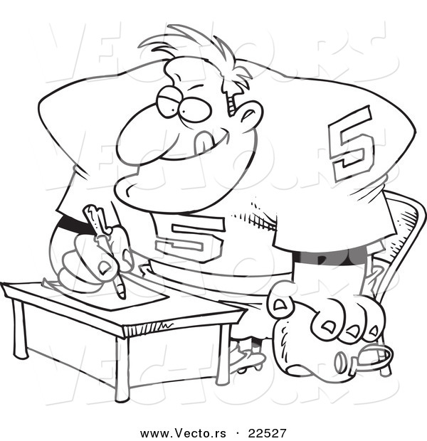 Vector of a Cartoon Football Player Signing a Contract - Coloring Page Outline