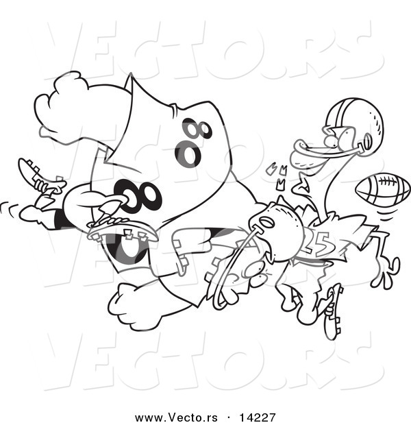 Vector of a Cartoon Football Player Tackling Another and Knocking out His Teeth - Coloring Page Outline