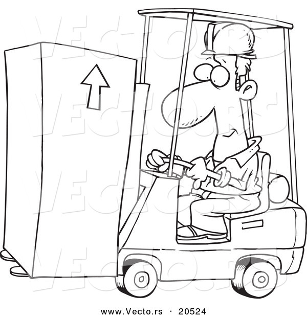 Vector of a Cartoon Forklift Operator Moving a Box - Coloring Page Outline
