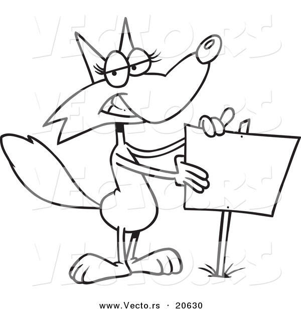 Vector of a Cartoon Fox Presenting a Blank Sign - Coloring Page Outline
