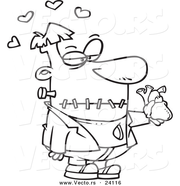 Vector of a Cartoon Frankenstein Holding a Heart - Coloring Page Outline