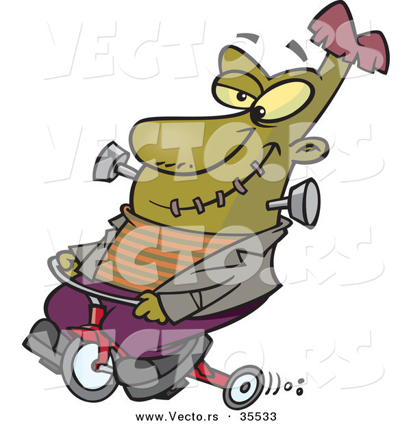 Vector of a Cartoon Frankenstein Riding a Trike While Grinning