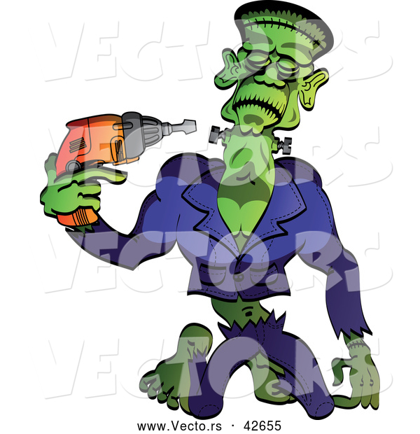 Vector of a Cartoon Frankenstein Tightening Screws on His Neck