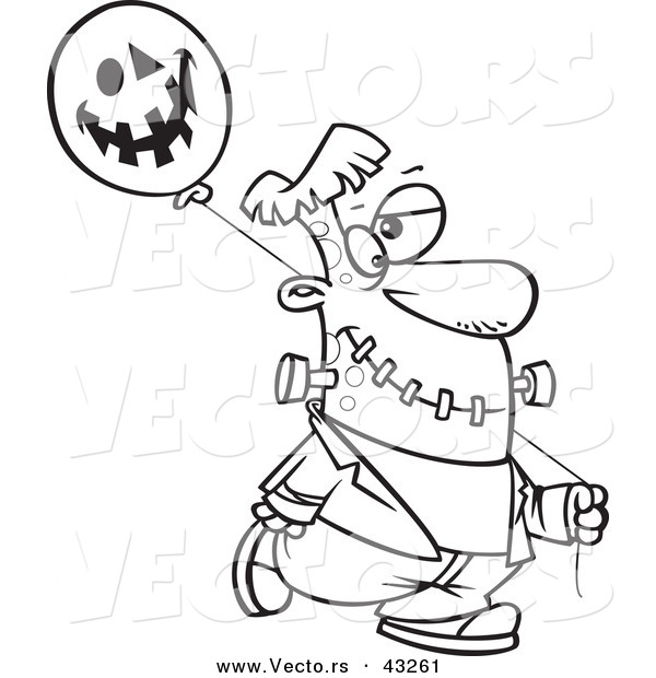 Vector of a Cartoon Frankenstein Walking with a Halloween Jackolantern Balloon - Coloring Page Outline