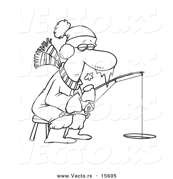 Vector of a Cartoon Frozen Man Ice Fishing - Coloring Page Outline