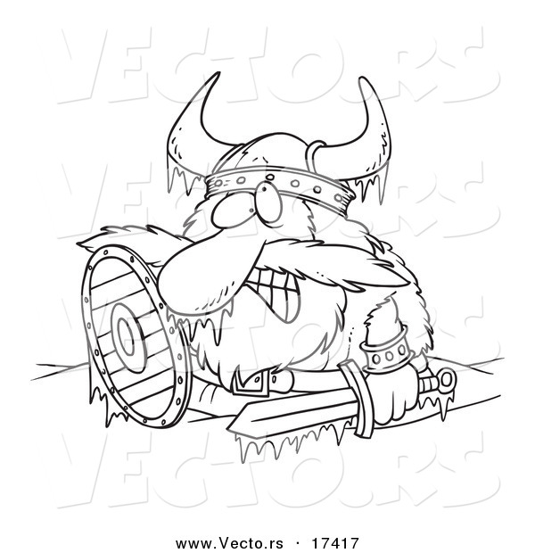Vector of a Cartoon Frozen Viking - Coloring Page Outline