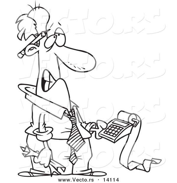 Vector of a Cartoon Frustrated Man Trying to Calculate His Taxes - Coloring Page Outline