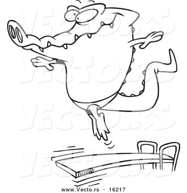 Vector of a Cartoon Gator Bouncing off a Diving Board - Outlined Coloring Page Drawing