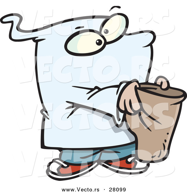 Vector of a Cartoon Ghost Kid Trick-or-Treating on Halloween