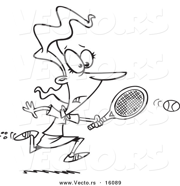 Vector of a Cartoon Girl Chasing an Elusive Tennis Ball - Outlined Coloring Page Drawing