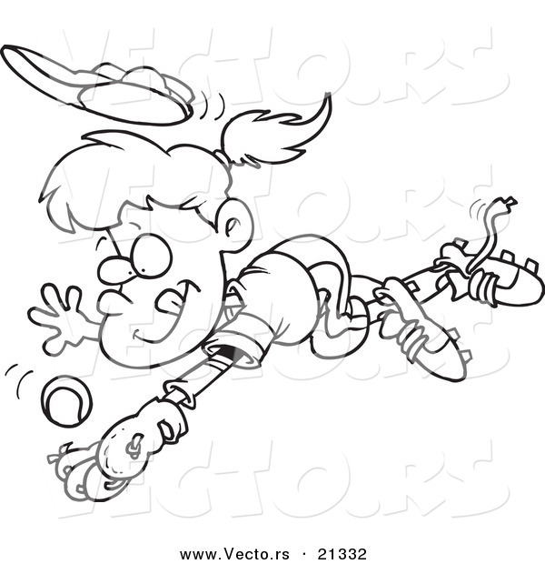 Vector of a Cartoon Girl Diving to Catch a Baseball - Outlined Coloring Page