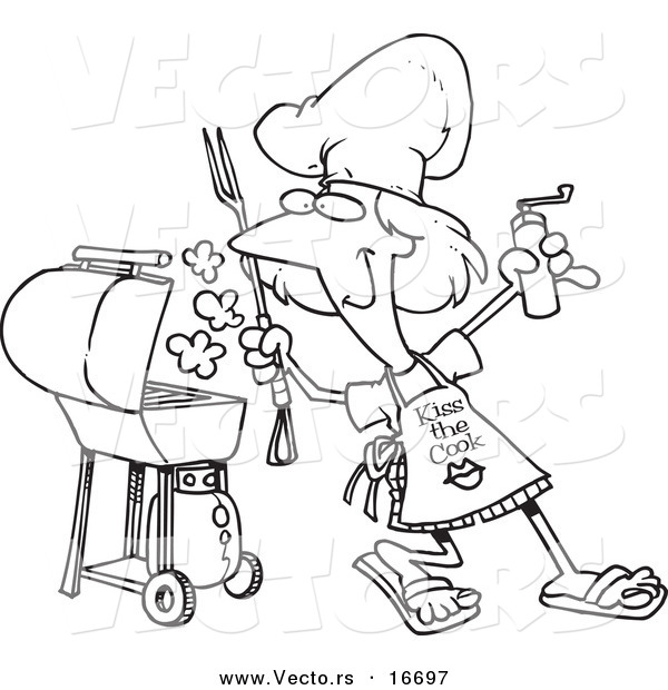 Vector of a Cartoon Girl Holding a Pepper Grinder by Her BBQ - Outlined Coloring Page Drawing