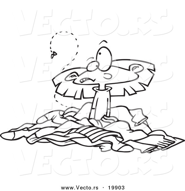 Vector of a cartoon girl in a pile of stinky laundry for Laundry coloring pages