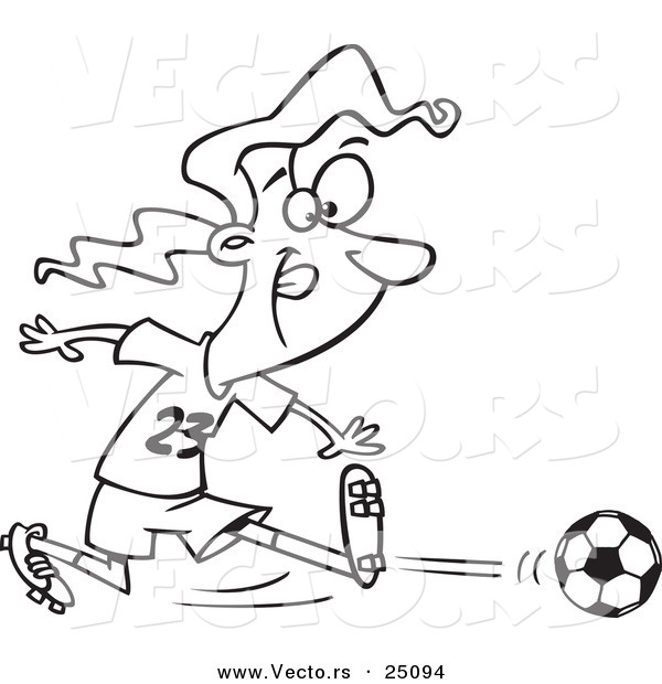 Vector of a Cartoon Girl Kicking a Soccer Ball - Outlined Coloring Page