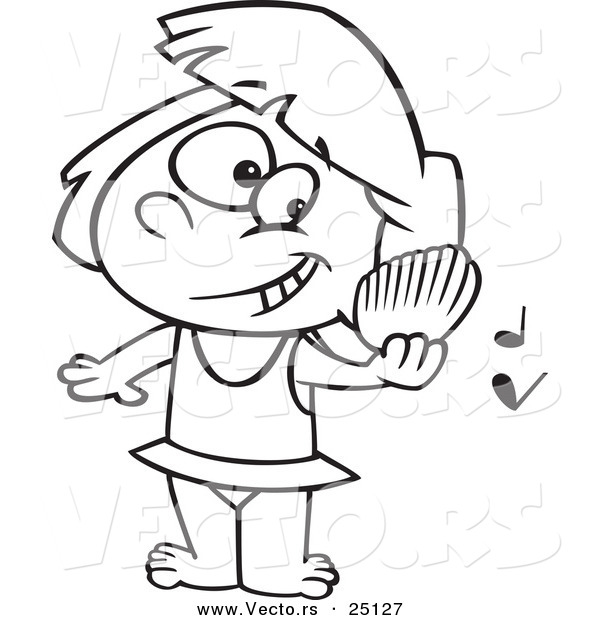 ... Play Music on a Beach - Coloring Page Outline by Ron Leishman - #25127