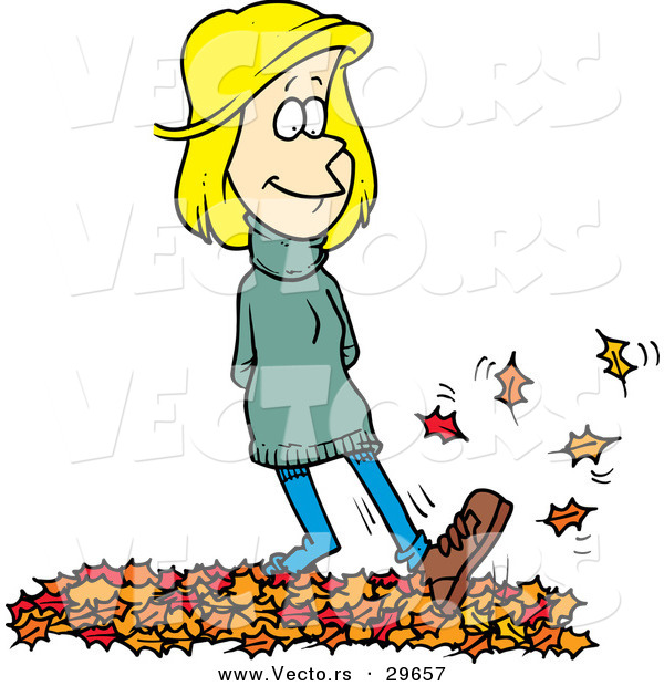 Vector of a Cartoon Girl Walking on Autumn Leaves