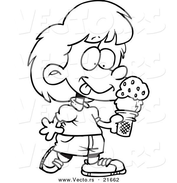 Vector of a Cartoon Girl with Ice Cream - Outlined Coloring Page