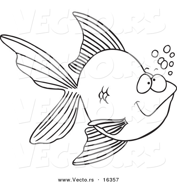 Vector of a Cartoon Goldfish with Bubbles - Outlined Coloring Page Drawing