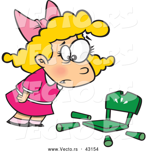 Vector of a Cartoon Goldilocks Girl Shockingly Looking at Her Broken Chair