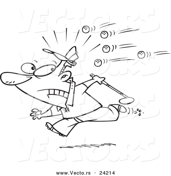 Vector of a Cartoon Golfer Running Away from Balls - Coloring Page Outline