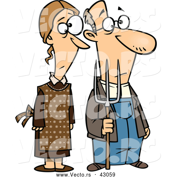 Vector of a Cartoon Gothic Farmer Husband and Wife Standing Side-by-Side with a Pitch Fork