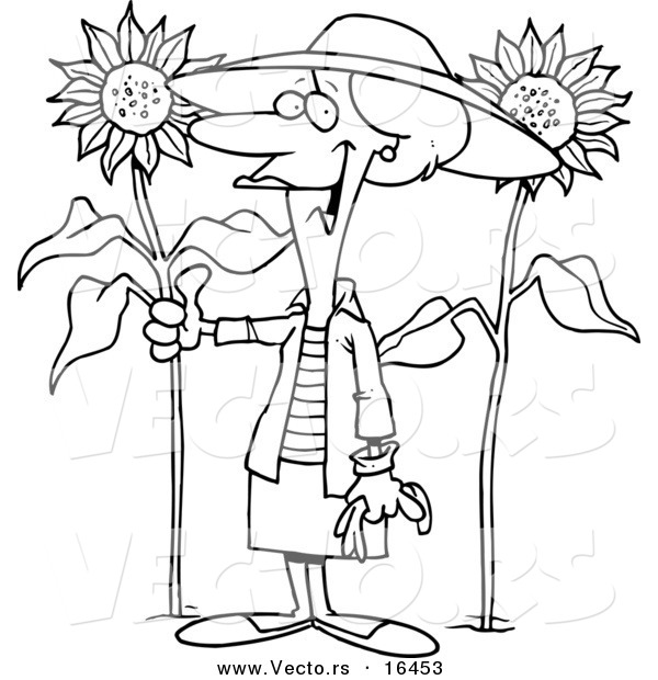 Vector of a Cartoon Green Thumb Girl in Her Sunflower Gardener - Outlined Coloring Page Drawing
