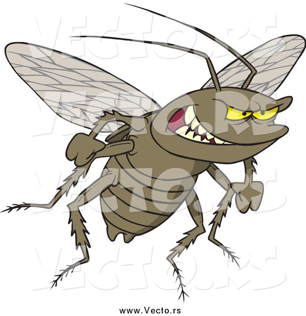 Vector of a Cartoon Grinning Evil Cockroach