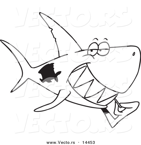 Vector of a Cartoon Grinning Shark Using a Toothpick - Coloring Page Outline