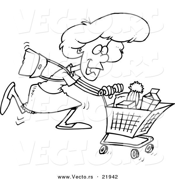 Vector of a Cartoon Grocery Shopping Woman - Outlined Coloring Page